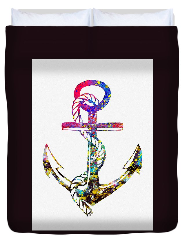 Anchor Duvet Cover featuring the digital art Anchor-colorful by Erzebet S