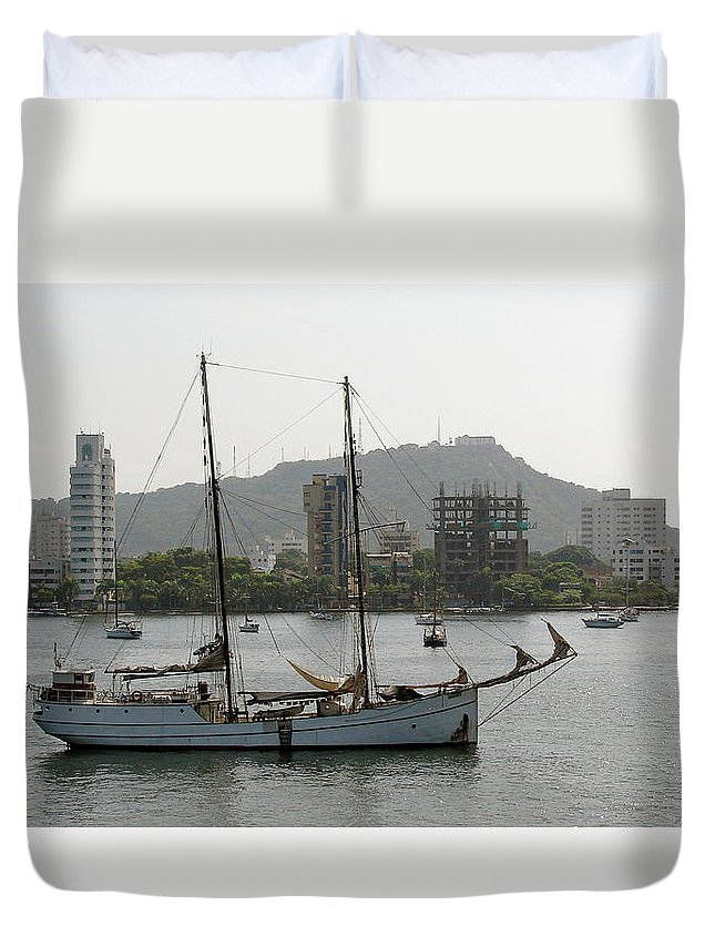 Ship Duvet Cover featuring the photograph Anchored Sailboat by Brett Winn