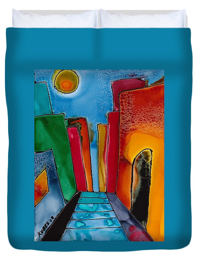 City Duvet Cover featuring the mixed media Ancient City by Susan Kubes