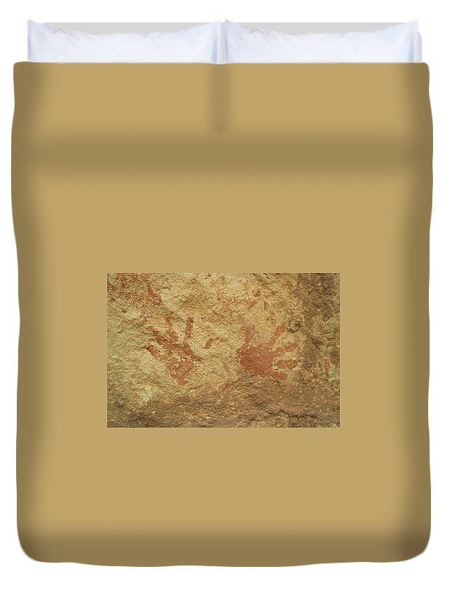 Anasazi Duvet Cover featuring the photograph Ancient Hands by Jerry McElroy