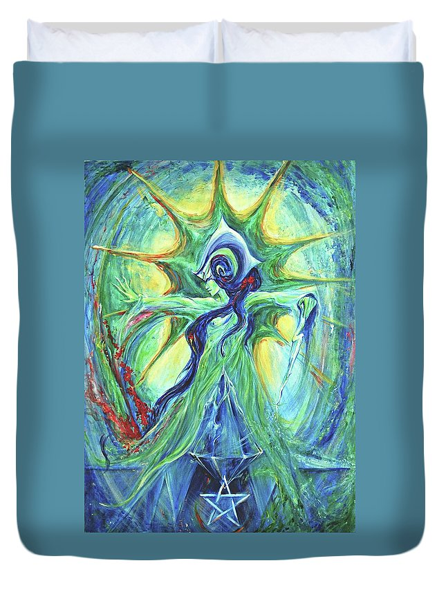 Goddess Duvet Cover featuring the painting Ancient History by Jennifer Christenson