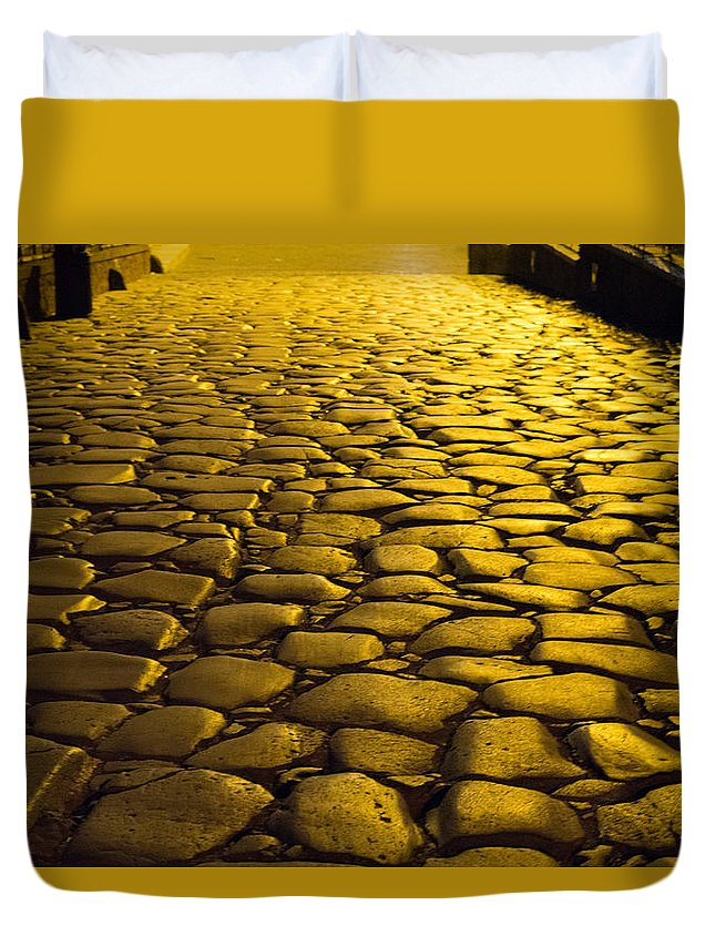Ancient Roman Road Rome Italy Duvet Cover featuring the photograph Ancient Roadway by Terry Baldridge