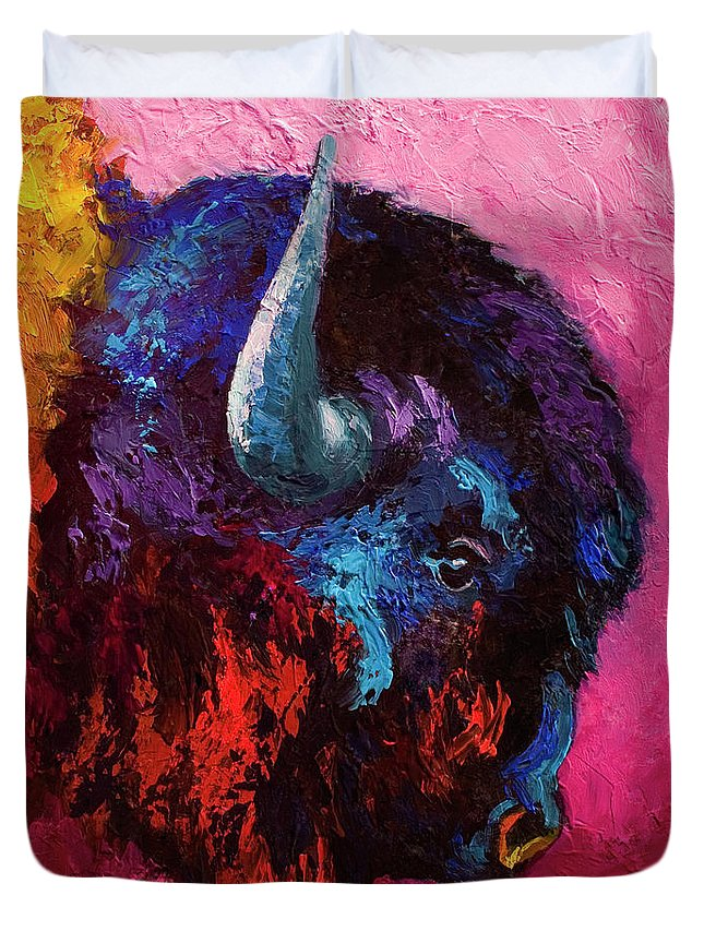 Bison Duvet Cover featuring the painting Ancient Soul by Marion Rose