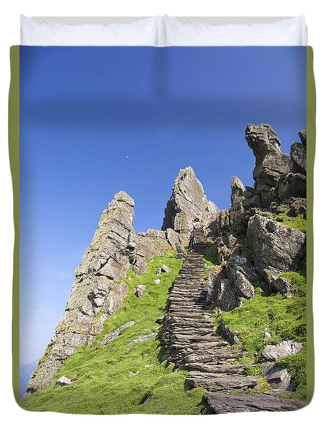 Ancient Duvet Cover featuring the photograph Ancient Steps Leading To Celtic Monastery, Skellig Michael, County Kerry, Ireland by Peter Barritt
