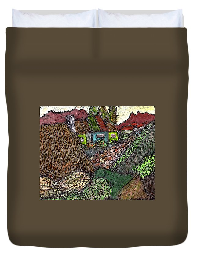 Ancient Village Duvet Cover featuring the painting Ancient Village by Wayne Potrafka