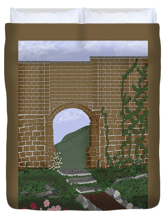 Irish Ruins Duvet Cover featuring the painting Ancient Walls by Anne Norskog