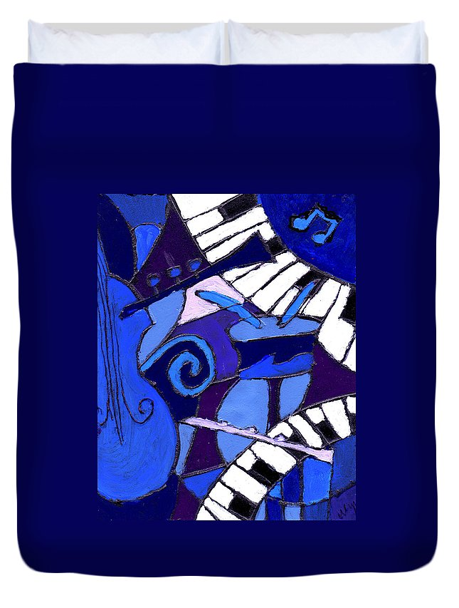 Blues Duvet Cover featuring the painting and All that Jazz 3 by Wayne Potrafka