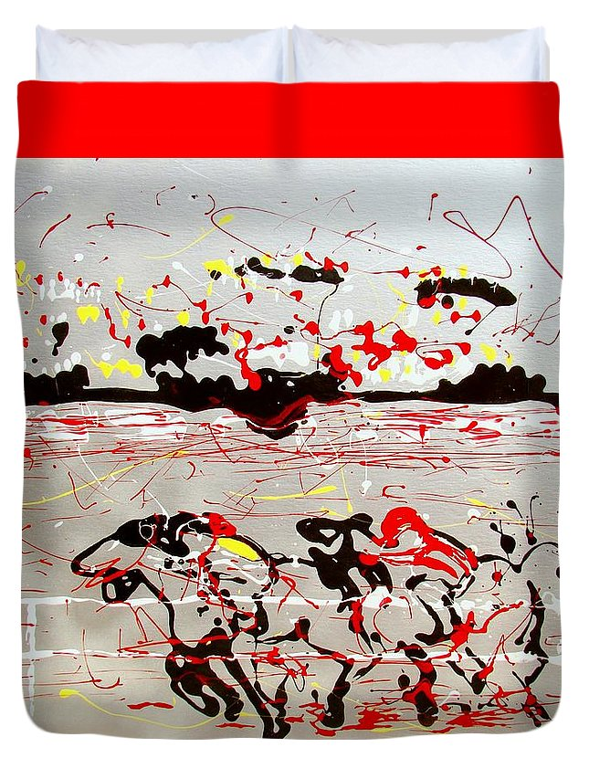 Abstract Duvet Cover featuring the mixed media And Down The Stretch They Come by J R Seymour