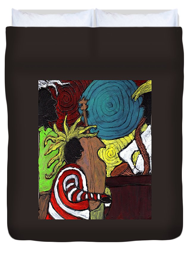 Music Duvet Cover featuring the painting and the Band Played On by Wayne Potrafka