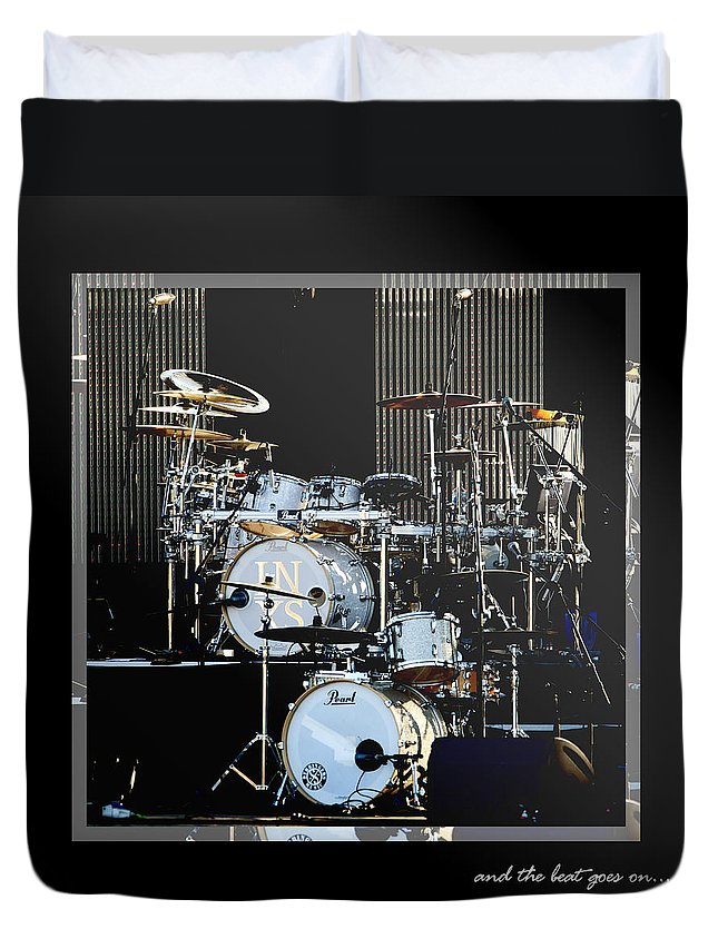 Drums Duvet Cover featuring the photograph And The Beat Goes On.... by Holly Kempe