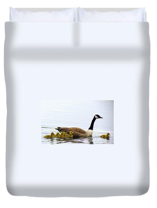 Geese Duvet Cover featuring the photograph And The Littlest One Shall Lead The Way by Lori Pessin Lafargue