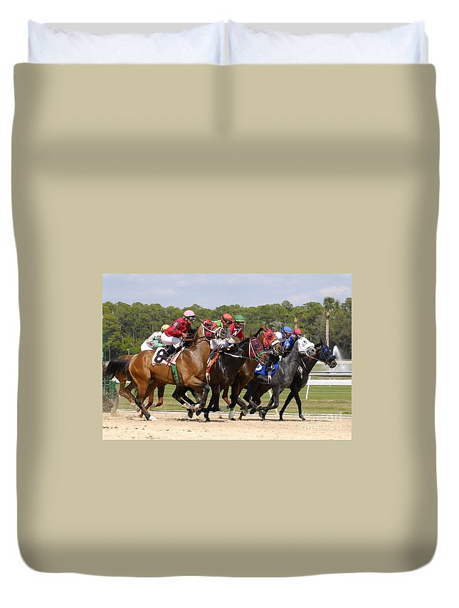 Horse Racing Duvet Cover featuring the photograph And Their Off by David Lee Thompson
