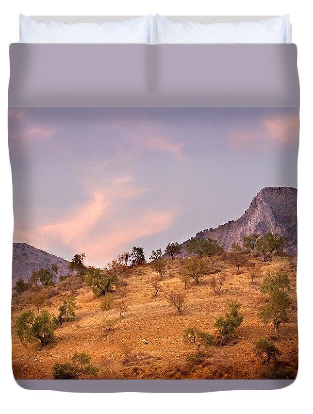 Andalucia Duvet Cover featuring the photograph Andalucian Landscape Near Zahara De La Sierra Spain by Mal Bray