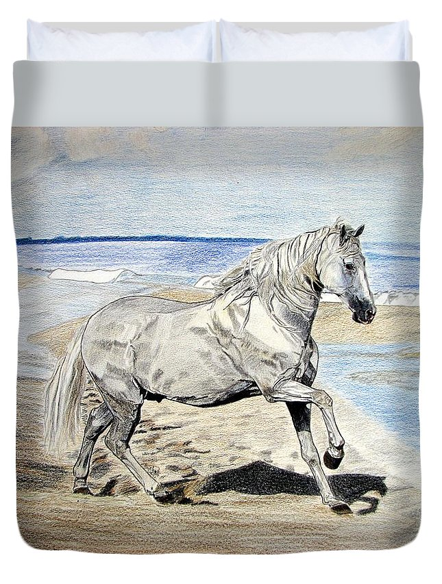 Horse Duvet Cover featuring the drawing Andalusian Horse by Melita Safran