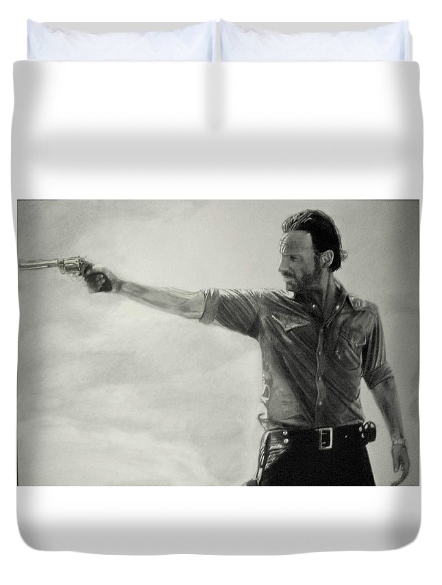 Andrew Lincoln Rick Grimes Pencil Portrait Black And White The Walking Dead Fan Art Duvet Cover featuring the drawing Andrew Lincoln by Stan Antonio