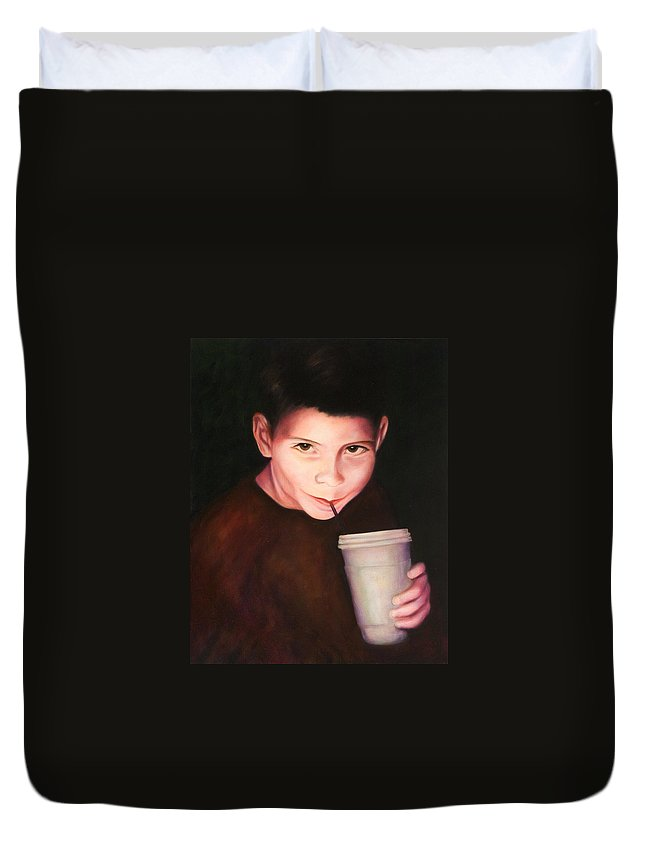 Boy Duvet Cover featuring the painting Andrew by Shannon Grissom