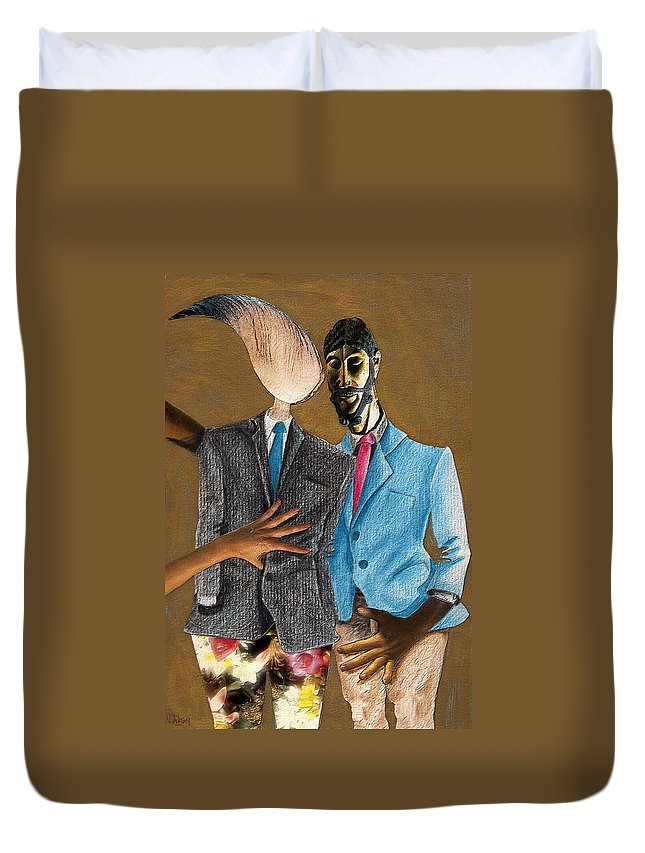 Sex Gay Androginality Couple Love Relation Duvet Cover featuring the mixed media Androginality by Veronica Jackson