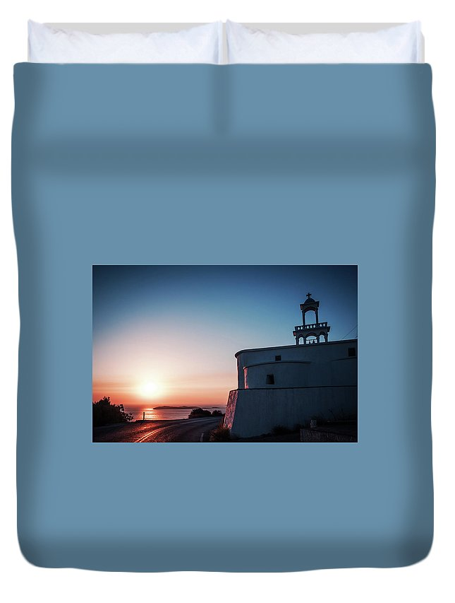 Andros Duvet Cover featuring the photograph Andros Island Sunset - Greece by Alexander Voss