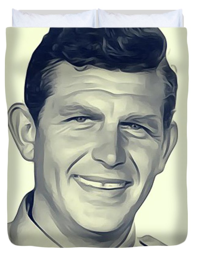 Andy Duvet Cover featuring the digital art Andy Griffith, Vintage Actor by John Springfield