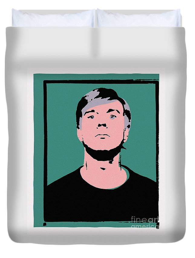 Andy Warhol Duvet Cover featuring the painting Andy Warhol Self Portrait 1964 On Green - High Quality - Stamp Edition 2012 by Peter Potamus