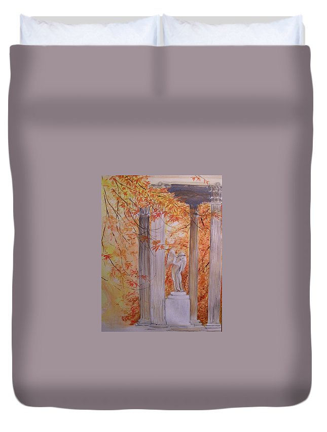 Angel Duvet Cover featuring the painting Ange Petit Trianon Versailles by Lizzy Forrester