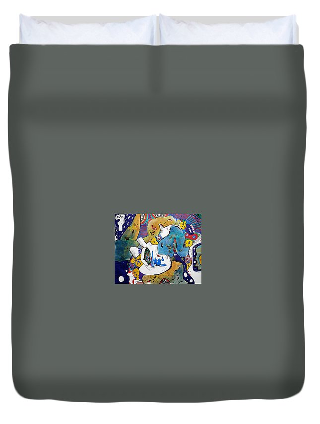 Angel Duvet Cover featuring the painting Angel And Blue Bottles by Natalia Pastushenko