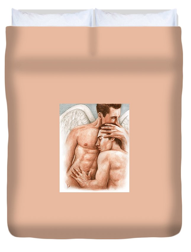 Male Angel Bruce Lennon Art Duvet Cover featuring the painting Angel Embrace by Bruce Lennon
