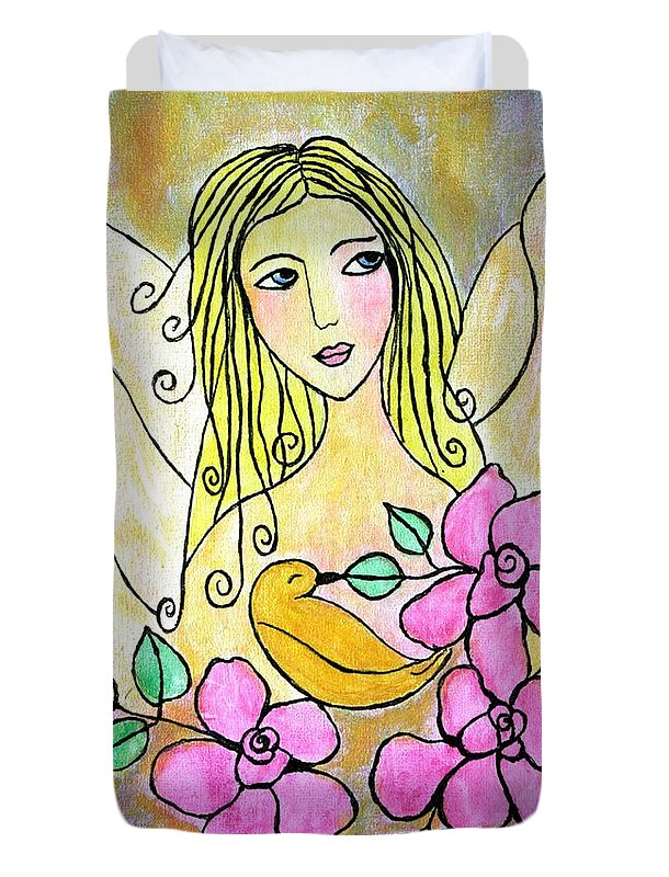 Angel-art Duvet Cover featuring the painting Angel-face by Renate Dartois