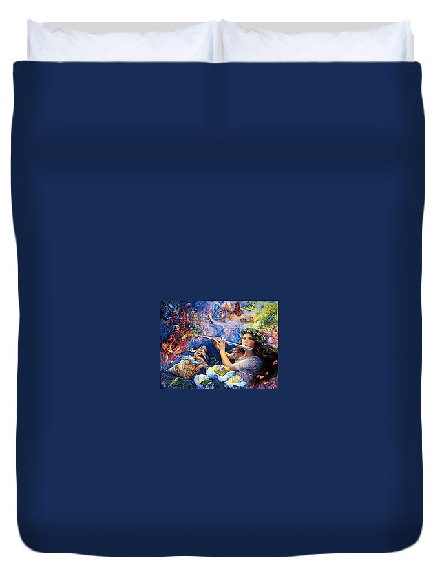 Duvet Cover featuring the digital art Angel Flute by Cassidy Heaven