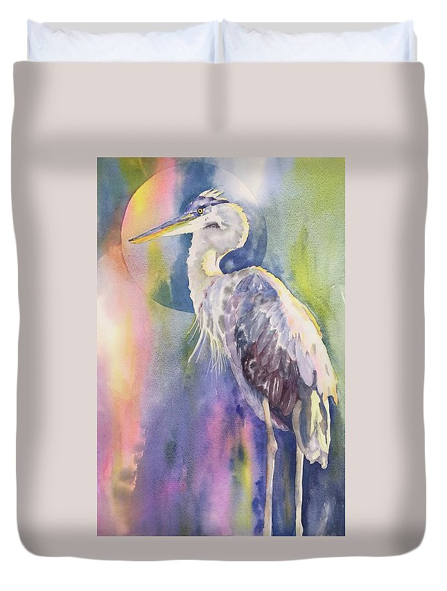 Great Blue Heron Duvet Cover featuring the painting Angel Heron by Tara Moorman