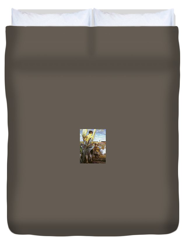 Religion Duvet Cover featuring the digital art angel i will follow you Jacek Malczewski by Eloisa Mannion