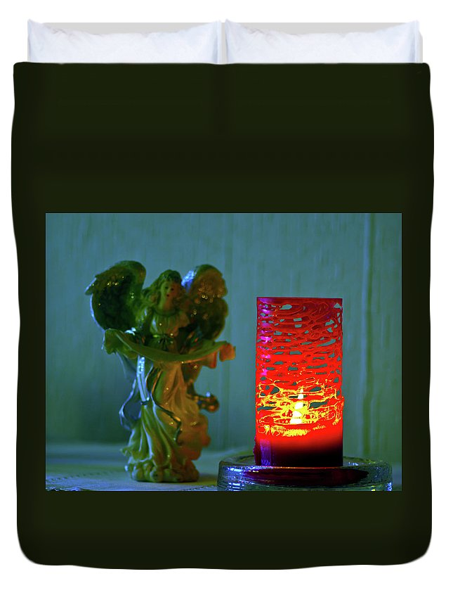 Angel Duvet Cover featuring the photograph Angel In Candle Light by Jarmo Honkanen