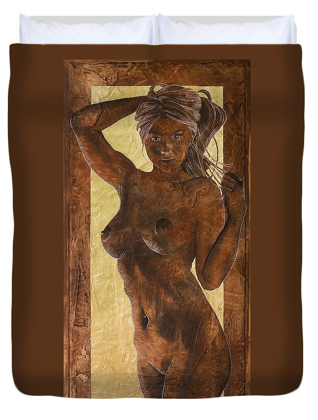 Nude Duvet Cover featuring the painting Angel In Gold by Richard Hoedl