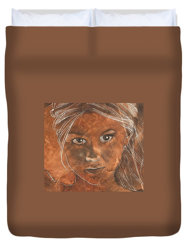 Nude Duvet Cover featuring the painting Angel In Process Head Detail by Richard Hoedl
