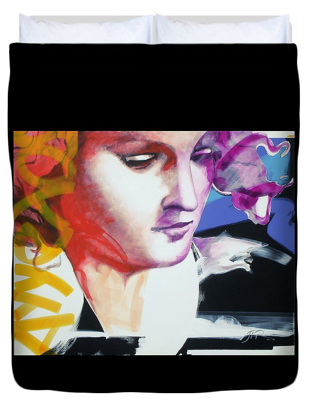 Pop Duvet Cover featuring the painting Angel by Jean Pierre Rousselet