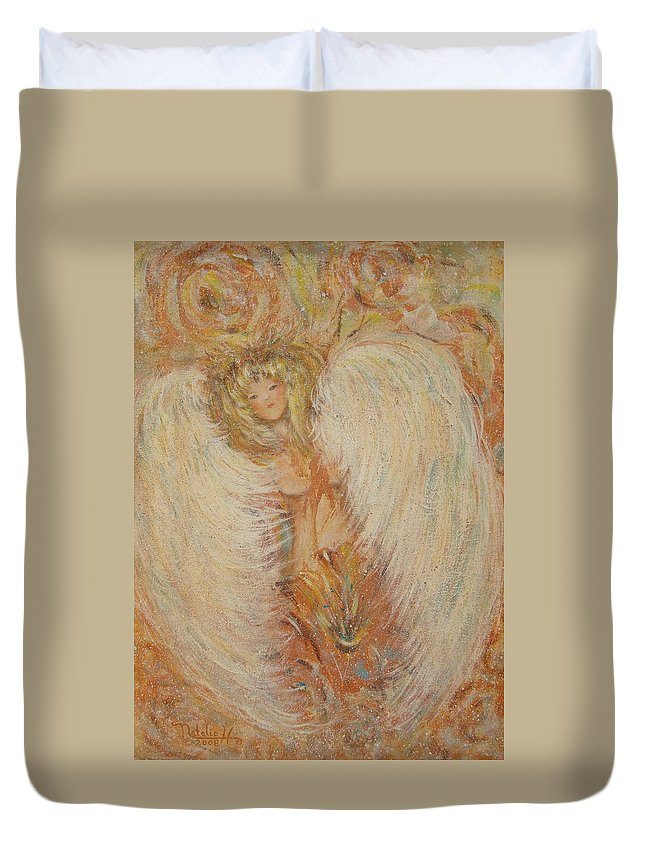 Angel Duvet Cover featuring the painting Angel Loves You by Natalie Holland