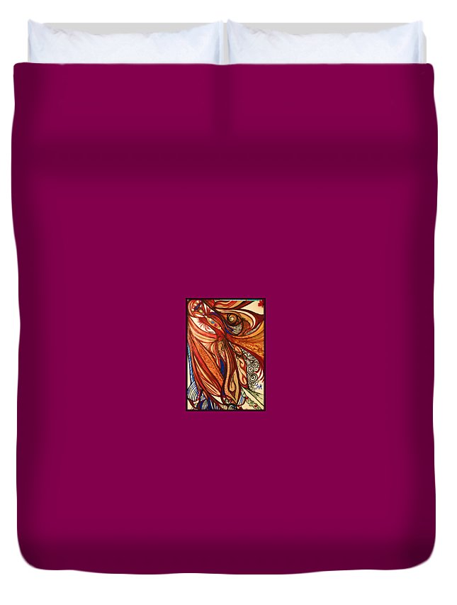 Abstract Art Duvet Cover featuring the mixed media Angel Lucifer by Michelle Smith