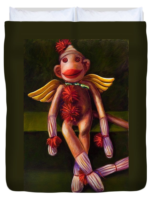 Sock Monkey Angel Duvet Cover featuring the painting Angel Made Of Sockies by Shannon Grissom