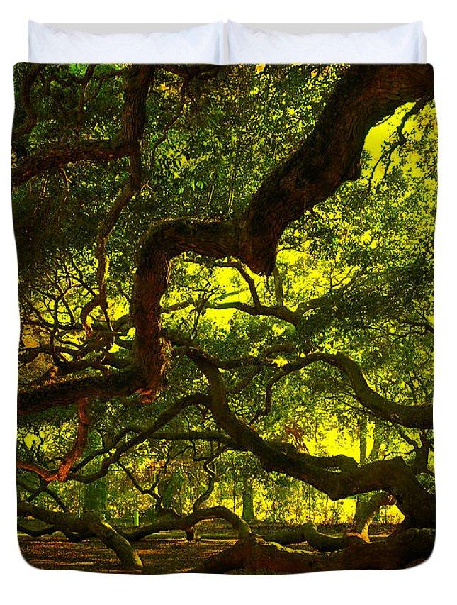 Angel Oak Duvet Cover featuring the photograph Angel Oak Limbs 2 by Susanne Van Hulst