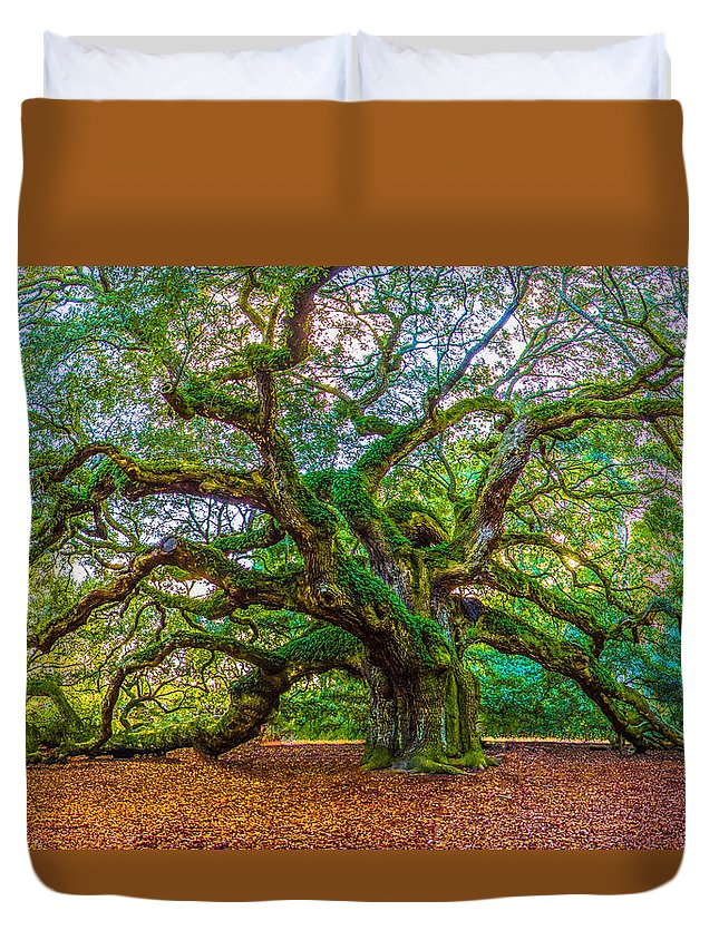 Angel Oak Tree Duvet Cover featuring the photograph Angel Oak Tree Charleston Sc by John McGraw