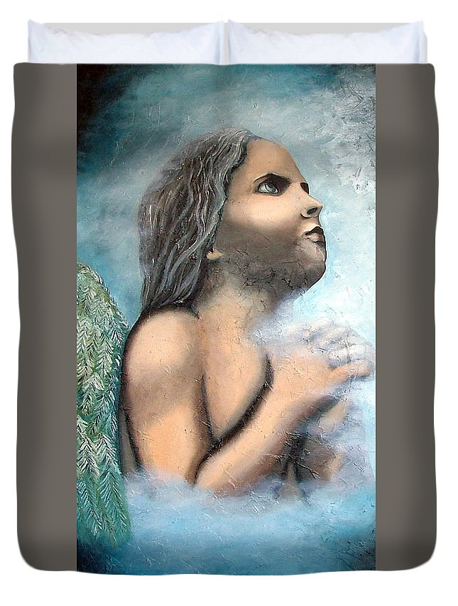 Angel Duvet Cover featuring the painting Angel Of Faith by Elizabeth Lisy Figueroa
