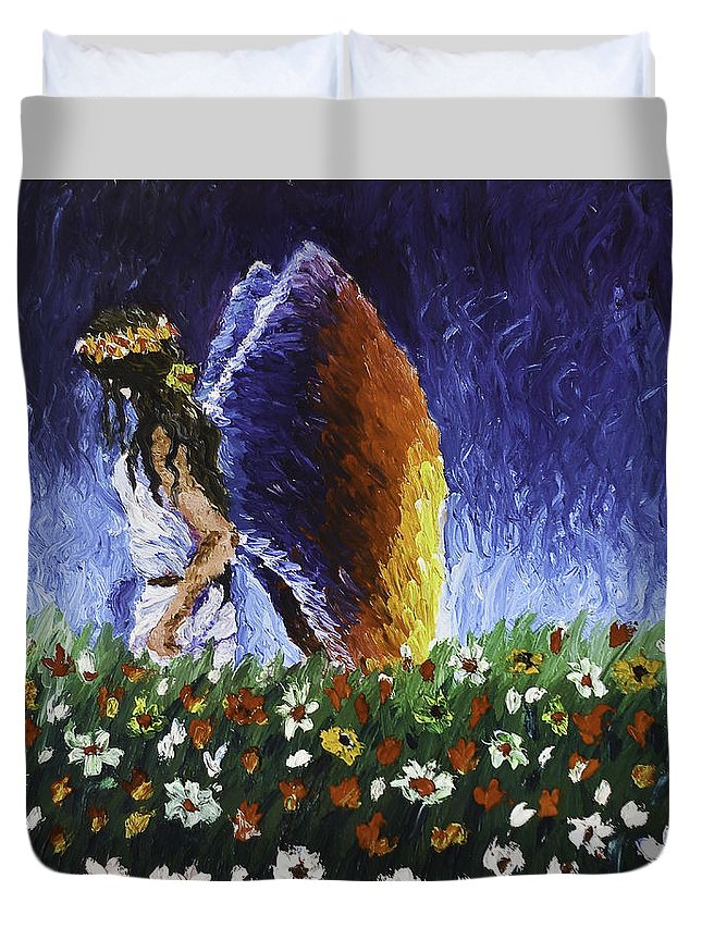Angels Duvet Cover featuring the painting Angel Of Harmoy by Connie Leah Fantilanan