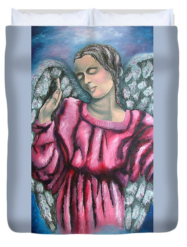 Angel Duvet Cover featuring the painting Angel Of Hope by Elizabeth Lisy Figueroa