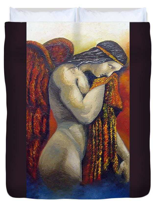 Angel Duvet Cover featuring the painting Angel Of Love by Elizabeth Lisy Figueroa