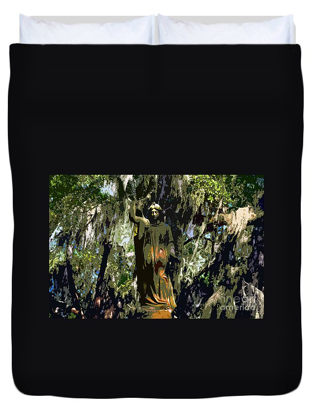 Angel Duvet Cover featuring the painting Angel Of Savannah by David Lee Thompson