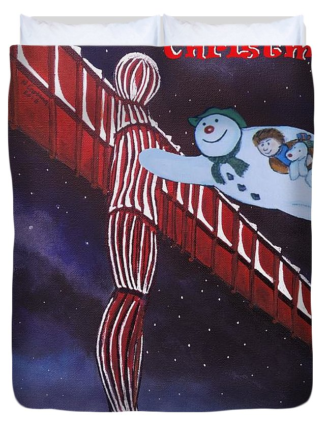 Duvet Cover featuring the painting Angel Of The North, Snowman by Neal Crossan