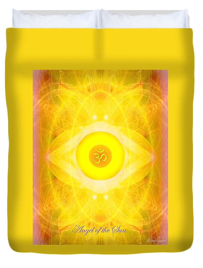 Angel Duvet Cover featuring the digital art Angel Of The Sun by Diana Haronis