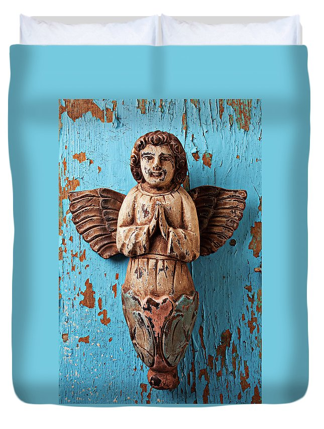 Angel Duvet Cover featuring the photograph Angel On Blue Wooden Wall by Garry Gay