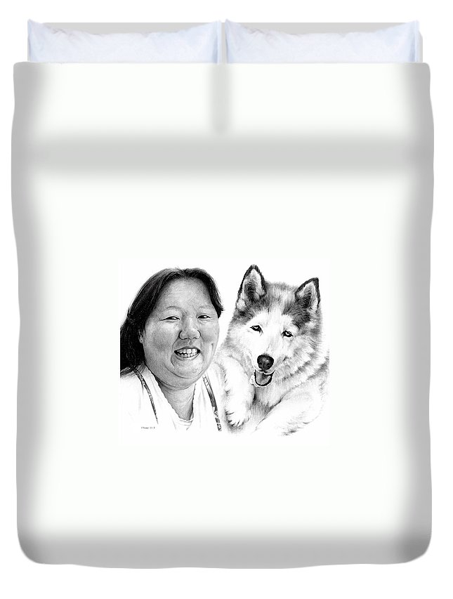 Portrait Duvet Cover featuring the drawing Angel On My Shoulder by Rachel Christine Nowicki