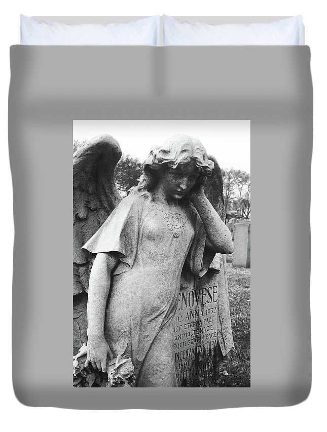 Calvary Cemetery Duvet Cover featuring the photograph Angel On The Ground At Cavalry Cemetery, Nyc, Ny by David Wolanski